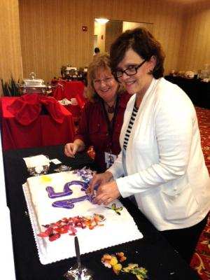 Kathie Balaam and Pam Lee did a fantastic job decorating the cake photo